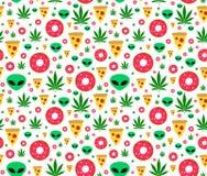 Potyka się płaskiego wektorowego bezszwowego wzór z marihuana liśćmi, donuts, pizza plasterkami i obcymi, pojedynczy białe tło Fotografia Stock