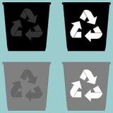 Poubelle avec l'icône simple sereine de forme de seau de seau d'utilisation de signe Photos stock
