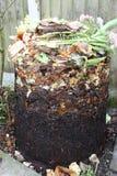 Poubelle de compost la couverture étant coupée montrant le contenu Image libre de droits