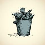 Poubelle de vecteur complètement de déchets Photo libre de droits