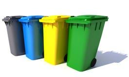 Poubelles de déchets en couleurs Photos libres de droits