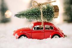 Pouca árvore de Natal levando do brinquedo vermelho do carro imagens de stock royalty free