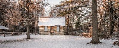 Pouca cabana rústica de madeira nas madeiras fotografia de stock