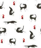 Pouca capa de equitação vermelha e preto Wolf Fairytale ilustração do vetor
