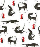 Pouca capa de equitação vermelha e preto Wolf Fairytale ilustração stock