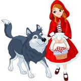 Pouca capa e lobo de equitação vermelha Fotos de Stock Royalty Free