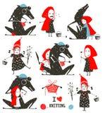 Pouca capa e Wolf Fairytale Collection de equitação vermelha ilustração do vetor