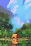 Pouca casa alaranjada na floresta sob o céu azul ilustração do vetor