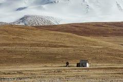 Pouca casa no fundo das montanhas da neve fotografia de stock royalty free