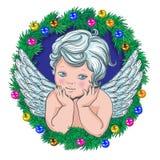 Pouca grinalda do Natal do anjo da festão da árvore ilustração stock