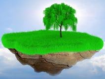 Pouca ilha da grama do voo com uma árvore. Imagem de Stock