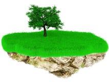 Pouca ilha da grama do voo com uma árvore. Imagem de Stock Royalty Free