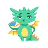 Pouca ilustração de Emoji do personagem de banda desenhada do fogo de Dragon Warming Up Tea With do bebê do estilo do Anime ilustração royalty free