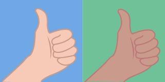 Pouca mão acima, dedo acima, os polegares acima, entrega a morena caucasiano da mão ilustração do vetor