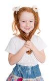 Pouca menina de cabelo vermelha da beleza Fotografia de Stock