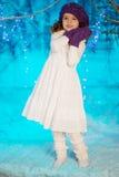 Pouca menina do conto de fadas do inverno Imagem de Stock Royalty Free