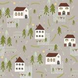 Poucas árvores da casa n da igreja da vila Vector o teste padrão ilustração stock