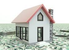 Poucas casas 3D vermelhas na pilha de dinheiro no fundo Imagens de Stock Royalty Free