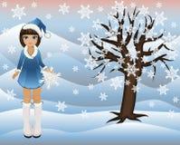 Poucas menina do inverno e árvore das estações Fotografia de Stock Royalty Free