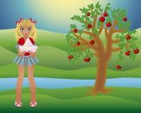 Poucas menina do verão e árvore das estações, vetor Imagens de Stock