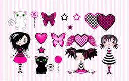 Poucas meninas do emo ilustração stock