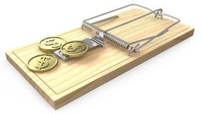 Poucas moedas douradas em uma armadilha do rato Imagem de Stock