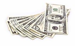 Poucas notas de banco do dólar isoladas Fotos de Stock Royalty Free