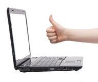 Pouce d'ordinateur portatif d'affaires vers le haut Photo libre de droits