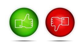 Pouce de Facebook vers le haut en bas des boutons d'isolement illustration stock