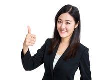 Pouce de femme d'affaires vers le haut Photographie stock libre de droits