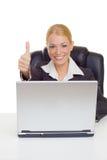 Pouce de femme d'affaires vers le haut Photos libres de droits