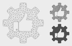 Pouce de vitesse vers le haut de vecteur Mesh Network Model et d'icône de mosaïque de triangle illustration stock