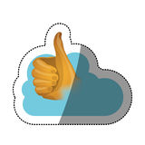 Pouce haut et conception de calcul de nuage Photographie stock libre de droits
