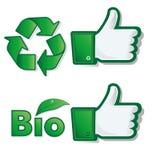 Pouce vers le haut de bio et d'eco Photographie stock libre de droits