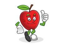 Pouce vers le haut de mascotte de pomme Vecteur de caractère d'Apple Logo d'Apple Illustration de Vecteur