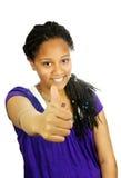 pouces d'adolescent de fille vers le haut Image libre de droits
