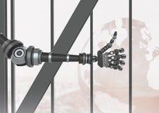 Pouces de main d'Android de robot par la fenêtre Photo stock