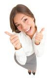 Pouces heureux vers le haut du femme de réussite d'isolement Photographie stock libre de droits