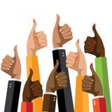 Pouces multiculturels de groupe de conception plate  illustration libre de droits
