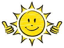 Pouces tirés par la main de Sun deux vers le haut de jaune et de noir illustration de vecteur