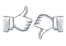 Pouces tirés par la main en haut et en bas Comme et à la différence des affaires a isolé des symboles de vecteur de croquis illustration de vecteur