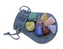 Pouch with Chakra Crystal Set Royalty Free Stock Image