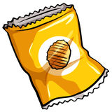 A pouch of chips. A pouch of potato chips on a white background stock illustration