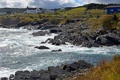 Pouch Cove coastline, NL Canada. Landscape along the Killick Coast, coastline at Pouch Cove, Avalon Peninsula, NL Canada royalty free stock photography