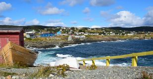 Pouch Cove panorama, NL Canada. Panoramic landscape along the Killick Coast, shoreline with view towards village of Pouch Cove; Avalon Peninsula NL Canada stock images