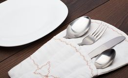 Pouch with fork, spoon and knife Royalty Free Stock Photography