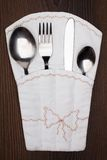 Pouch with fork, spoon and knife Stock Photo