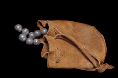 Pouch of lead ball. Projectiles for a muzzle-loading firearm Royalty Free Stock Photography