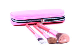 Pouch and makeup brushes Royalty Free Stock Images