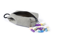 POUCH AND MEDICINE Royalty Free Stock Photo
